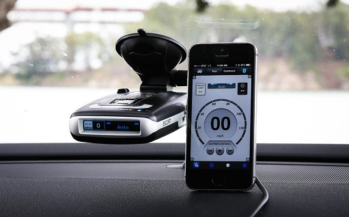 Smartphone Connected With Radar Detector